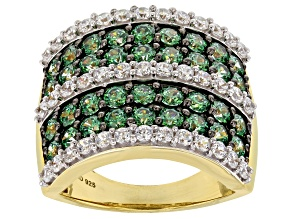 Green & White Zirconia from Swarovski (R) 18k yellow gold over sterling silver ring 5.61ctw