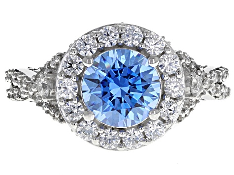 Swarovski ® Arctic Blue & White Zirconia Rhodium Over Sterling Silver Center Design Ring 5.57ctw