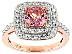 Swarovski ® Fancy Pink & White Zirconia 18K Rose Gold Over Sterling Silver Ring 4.00ctw