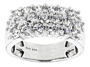 Swarovski ® White Zirconia Rhodium Over Sterling Silver Ring 3.94ctw