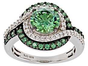 Green & White Zirconia From Swarovski (R) Rhodium Over Silver Ring 4.42ctw