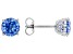 Blue Zirconia From Swarovski ® Rhodium Over Sterling Silver Earrings 4.48ctw