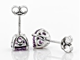 Purple Zirconia From Swarovski ® Rhodium Over Sterling Silver Earrings 4.48ctw