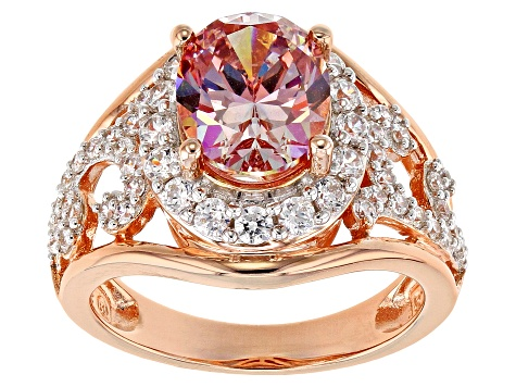 6e07a06773 Pink White Zirconia From Swarovski ® 18K Rose Gold Over Sterling Silver Ring  5.71CTW