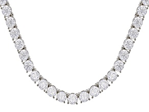 White Zirconia From Swarovski ® Platinum Over Sterling Silver Tennis Necklace 57.50ctw