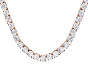 White Zirconia From Swarovski ® 18K Rose Gold Over Sterling Silver Tennis Necklace 57.50ctw