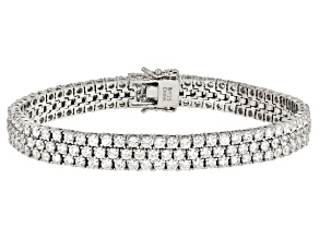 White Zirconia From Swarovski ® Platinum Over Sterling Silver Bracelet 14.21ctw
