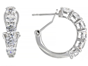 White Zirconia From Swarovski ® Platinum Over Sterling Silver Earrings 3.22ctw