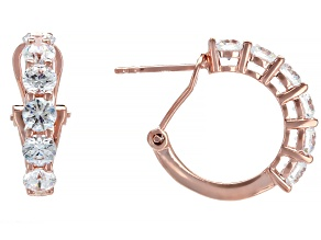 White Zirconia From Swarovski ® 18K Rose Gold Over Sterling Silver Earrings 3.22ctw