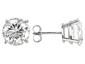 White Zirconia From Swarovski ® 10K White Gold Stud Earrings 9.60ctw