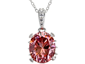 Pink And White Zirconia From Swarovski ® Rhodium Over Sterling Silver Pendant With Chain 8.94CTW