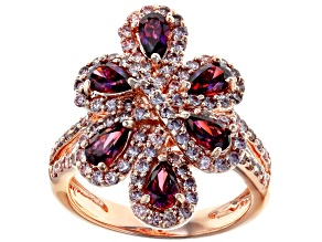 Swarovski ® Dark Red & Fancy Morganite Color Zirconia 18K Rose Gold Over Sterling Silver Ring