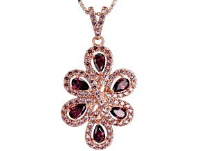 Swarovski ® Dark Red & Fancy Morganite Color Zirconia 18K Rose Gold Over Silver Pendant With Chain