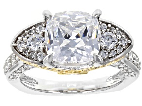 Swarovski ® Fancy Yellow & White Zirconia Rhodium Over Sterling Silver Ring 7.51CTW