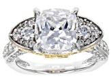 Swarovski ® Fancy Yellow & White Zirconia Rhodium Over Sterling Silver Ring 7.51CTW