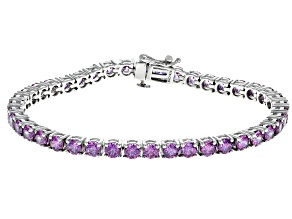 Swarovski ® Fancy Purple Zirconia Rhodium Over Sterling Silver Bracelet 19.32CTW