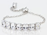 Swarovski ® White Zirconia Rhodium Over Silver Adjustable Bracelet 14.42CTW
