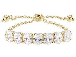 Swarovski ® White Zirconia 18K Yellow Gold Over Silver Adjustable Bracelet 14.42CTW