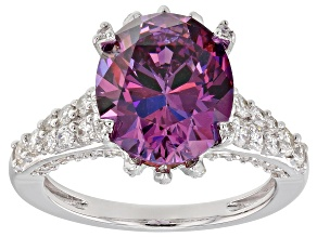 Swarovski ® Fancy Purple & White Zirconia Rhodium Over Silver Ring 10.32CTW