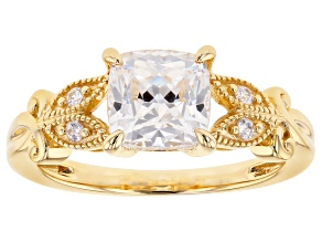 Swarovski (R) White Zirconia 18k Yellow Gold Over Sterling Silver Ring 2.96ctw
