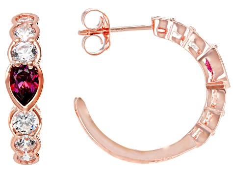 Red and White Zirconcia From Swarovski ® 18k Rose Gold Over Sterling Silver Earrings 3.62ctw