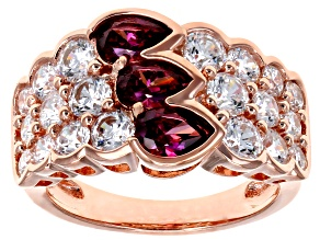 Red and White Zirconia From Swarovski ® 18k Rose Gold Over Silver Ring 5.63ctw