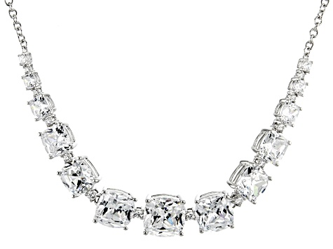 White Zirconia From Swarovski ® Rhodium Over Sterling Silver Necklace 50.25ctw
