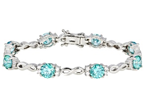Swarovski® Green And White Zirconia Rhodium Over Silver Bracelet 19.28ctw (11.2ctw DEW)
