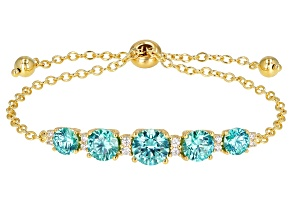 Swarovski ® Green And White 18K Yellow Gold Over Sterling Silver Adjustable Bracelet 11.14ctw
