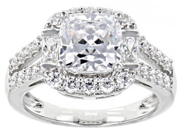 Picture of White Zirconia from Swarovski ® Rhodium Over Sterling Silver Ring 5.42ctw