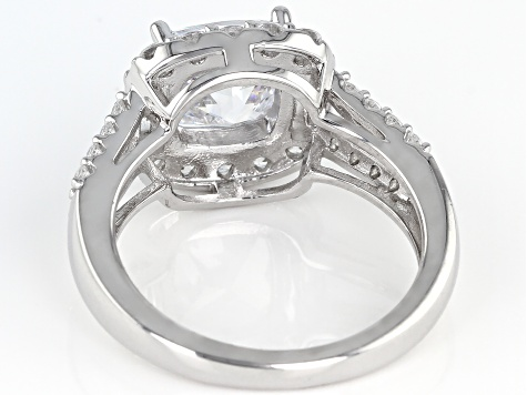 White Zirconia from Swarovski ® Rhodium Over Sterling Silver Ring 5.42ctw