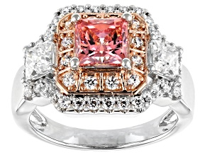 Fancy Pink And White Zirconia From Swarovski ® Rhodium Over Sterling Silver Ring 4.43ctw