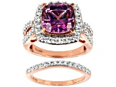 Fancy Purple and White Zirconia From Swarovski® 18k Rose Gold Over Silver Ring With Band 10.01ctw
