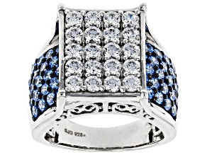 Arctic Blue And White Cubic Zirconia Rhodium Over Sterling Silver Ring 6.38ctw