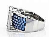 Arctic Blue And White Zirconia From Swarovski ® Rhodium Over Sterling Silver Ring 6.38ctw
