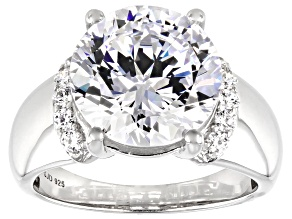 Heritage Cut Zirconia From Swarovski ® Rhodium Over Sterling Silver Ring 12.15ctw
