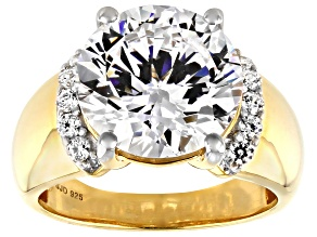 Heritage Cut White Zirconia From Swarovski ® 18k Yellow Gold Over Sterling Silver Ring 12.15ctw
