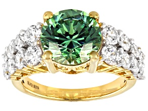 Fancy Green and White Cubic Zirconia 18k Yellow Gold Over Sterling Silver Ring 9.71ctw
