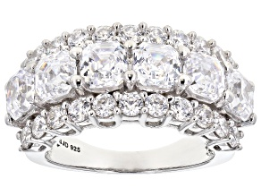 Cubic Zirconia Imperial Mosaic And Round Rhodium Over Silver Ring