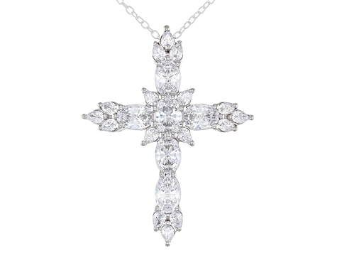 White Zirconia From Swarovski ® Rhodium Over Sterling Silver Cross Pendant With Chain 5.07ctw
