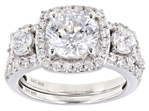 Heritage Cut Zirconia From Swarovski ® Rhodium Over Sterling Silver Ring 5.91ctw