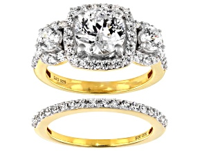 Heritage Cut Zirconia From Swarovski ® 18k Yellow Gold Over Sterling Silver Ring 5.91ctw
