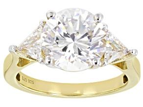 White Zirconia From Swarovski ® 18k Yellow Gold Over Sterling Silver Ring 7.61ctw