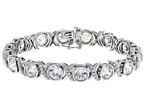 Swarovski ® Heritage Cut White Cubic Zirconia Rhodium Over Sterling Silver Bracelet 39.31ctw