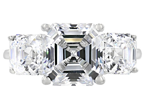 Zirconia from Swarovski ® Imperial Mosaic Rhodium Over Sterling Silver Ring 10.47ctw