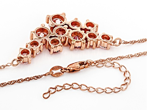 Fancy Pink Zirconia From Swarovski ® 18k Rose Gold Over Sterling Silver Necklace 10.95ctw