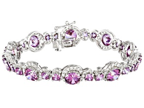 Fancy Purple and White Zirconia From Swarovski ® Rhodium Over Sterling Silver Bracelet 37.54ctw