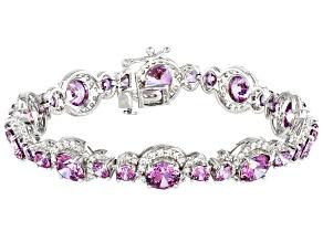 Fancy Purple and White Zirconia From Swarovski ® Rhodium Over Sterling Silver Bracelet 37.54ctw