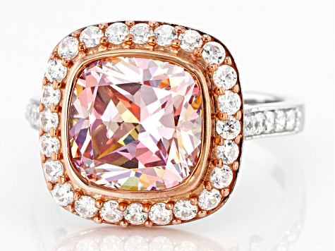 Fancy Pink And White Zirconia From Swarovski ® Rhodium Over Sterling Silver Ring 9.63ctw