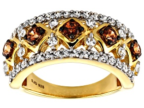 Caramel and White Zirconia From Swarovski ® 18k Yellow Gold Over Sterling Silver Ring 2.46ctw